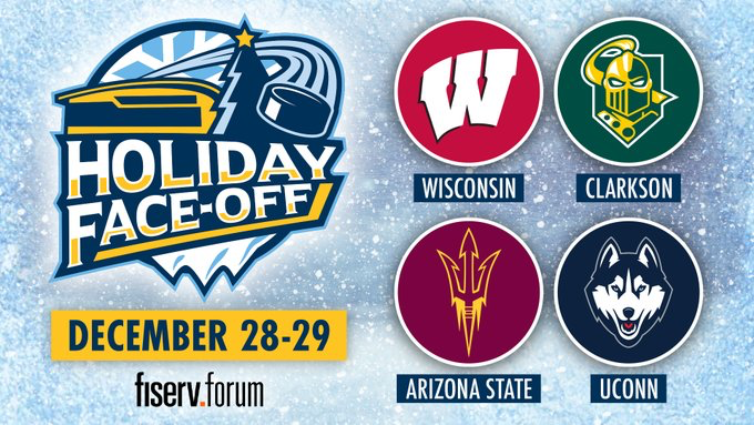 Wisconsin, Clarkson, Arizona State and UConn to play Milwaukee's Fiserv Forum in December for Holiday Face-Off tournament