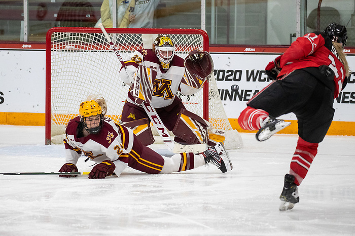 7 Mar 20: The University of Minnesota Golden Gophers play against the Ohio State University Buckeyes in the semifinal round of the 2020 WCHA Final Faceoff at Ridder Arena in Minneapolis, MN. (Jim Rosvold/WCHA)