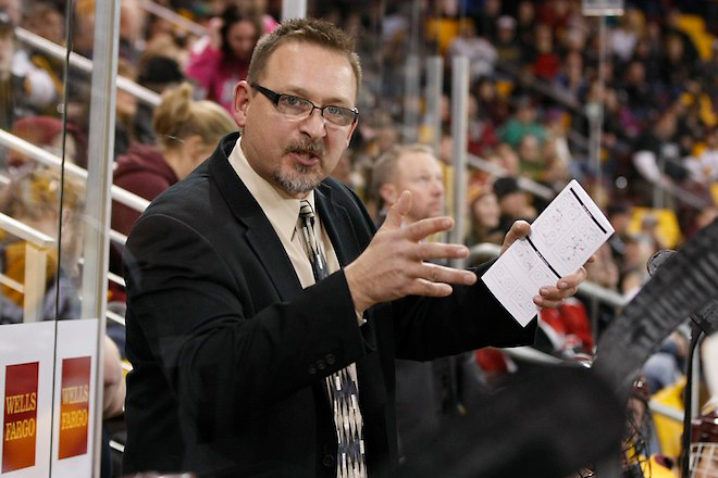 23 Nov 12: Jason Herter (Minnesota Duluth Assistant Coach). The University of Minnesota Duluth Bulldogs host the St. Cloud State University Huskies in a WCHA conference matchup at Amsoil Arena in Duluth, MN. (Jim Rosvold)