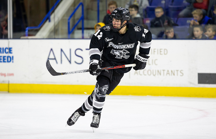 LOWELL, MA - DECEMBER 7: Jack Dugan #12 of the Providence College Friars. NCAA men's hockey at the Tsongas Center between the UMass-Lowell River Hawks and the Providence College Friars on December 7, 2019 in Lowell, Massachusetts. The Friars won 4-1. (Photo by Rich Gagnon/USCHO) (Rich Gagnon)