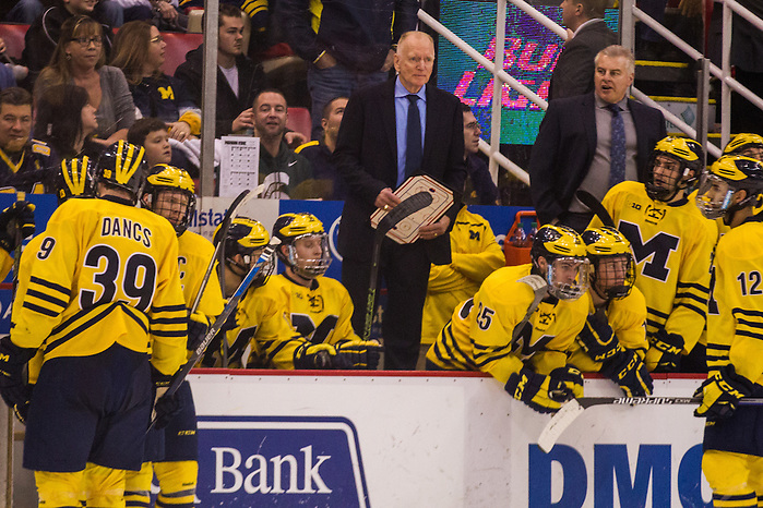 5Feb16: Red Berenson(UM-Coach)The Michigan Wolverines take on the Michigan States Spartans at the annual Duel in the D at the Joe Louis Arena. (Michael Dubicki)