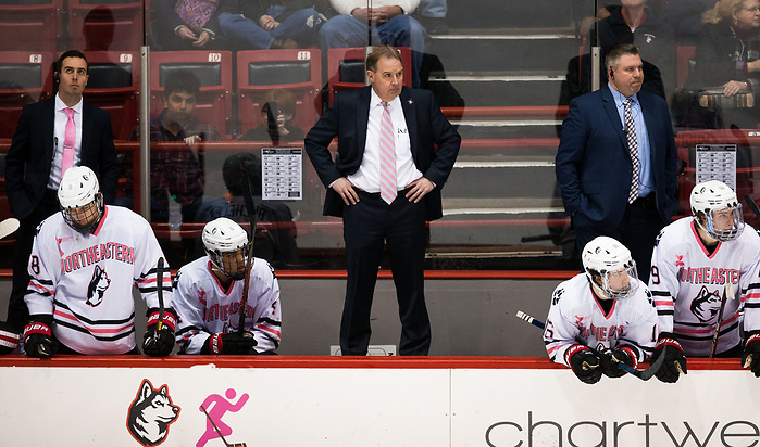 BOSTON, MA - JANUARY 31: Coach Jim Madigan of the Northeastern Huskies. The Providence College Friars visit the Northeastern Huskies during NCAA men's hockey at Matthews Arena on January 31, 2020 in Boston, Massachusetts. (Photo by Rich Gagnon/USCHO) (Rich Gagnon)