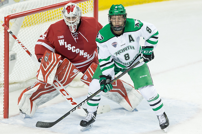 Daniel Lebedeff (Wisconsin-32) Nick Jones (North Dakota-8) 2018 November 3 The University of North Dakota hosts the Wisconsin Badgers in a non conference matchup at the Ralph Engelstad Arena in Grand Forks, ND (Bradley K. Olson)