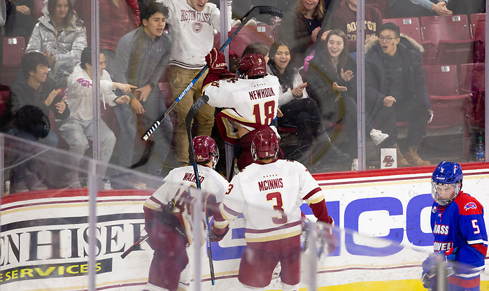 CHESTNUT HILL, MA - FEBRUARY 7: Alex Newhook #18 of the Boston College Eagles. NCAA men's hockey between the UMass Lowell River Hawks and the Boston College Eagles at Kelley Rink on February 7, 2020 in Chestnut Hill, Massachusetts. (Photo by Rich Gagnon/UMass Lowell Athletics) (Rich Gagnon)