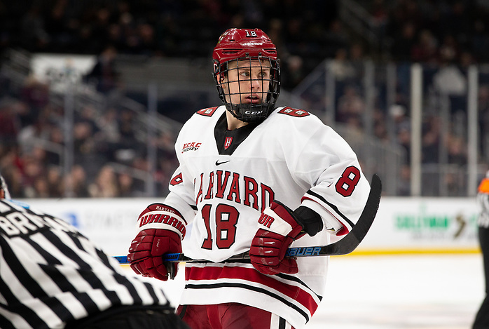 BOSTON, MA - FEBRUARY 3: Jack Drury #18 of the Harvard Crimson. NCAA hockey in the semifinals of the annual Beanpot Hockey Tournament between Northeastern and Harvard at TD Garden on February 3, 2020 in Boston, Massachusetts. The Huskies won 3-1. (Photo by Rich Gagnon/USCHO) (Rich Gagnon)