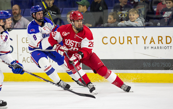 LOWELL, MA - OCTOBER 25: Kasper Kotkansalo #26 of the Boston University Terriers. The UMass-Lowell River Hawks play host to the Boston University Terriers during NCAA men's hockey at the Tsongas Center on October 24, 2019 in Lowell, Massachusetts. (Photo by Rich Gagnon) (Rich Gagnon)